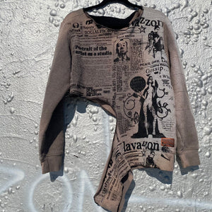 Asymmetrical  tea dye newsprint  sweater size m