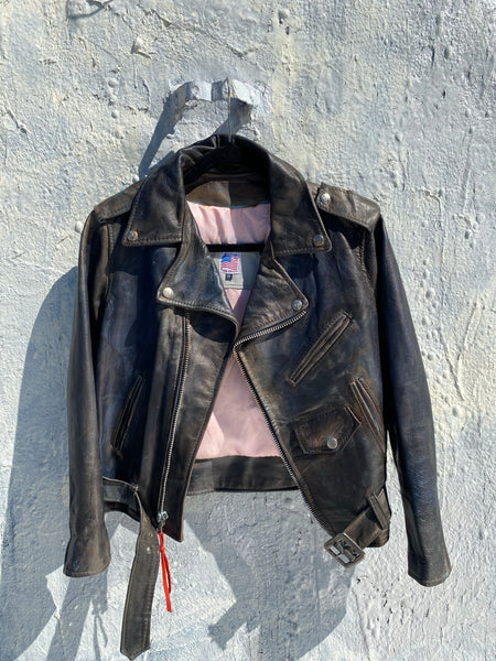 Sale...Distress painted Jimi Hendrix Motorcycle leather jacket .size small women's jacket