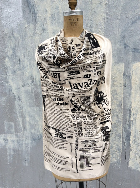 Large Square newsprint scarf