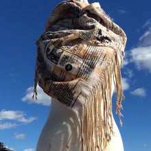 Natural Dye cotton mud cloth fringe scarf