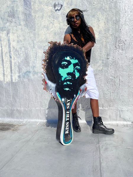 Jimi Hendrix portrait on a guitar case.....by Eric Lavazzon... Excuse me while I kiss the sky