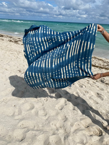 Vintage Indigo mud cloth textiles, scarf, beach blanket ,tapestry