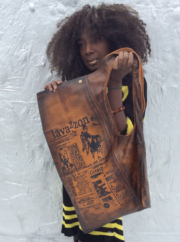 Art Bio  newspaper print Shoulder Tote
