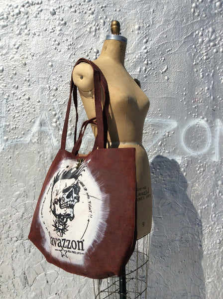 Burgundy Leather Skull tote / Lavazzon tote /weekend bag/ unisex