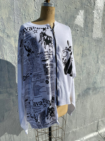 Assymetrical Zippered down portrait of an artist newsprint sweatshirt