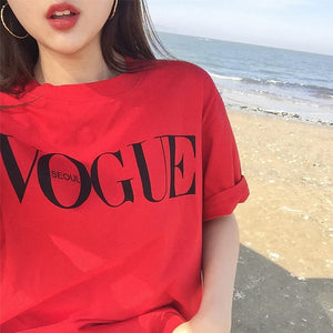 VOGUE Letter Printed T Shirt