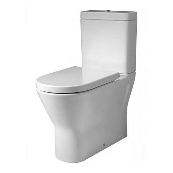 RAK Resort Mini Close Coupled Fully Back to Wall Rimless Toilet WC Pack - Soft Close Seat