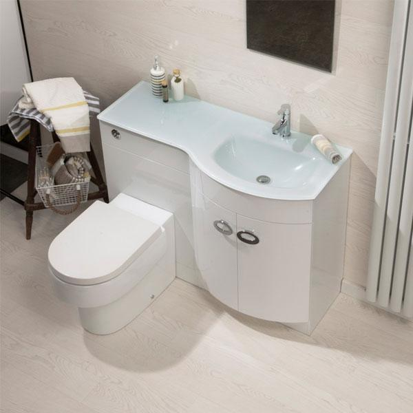 Cassellie Pebble D-Shaped Combination Unit with White Glass Style Basin - 1100mm Wide - Right Handed