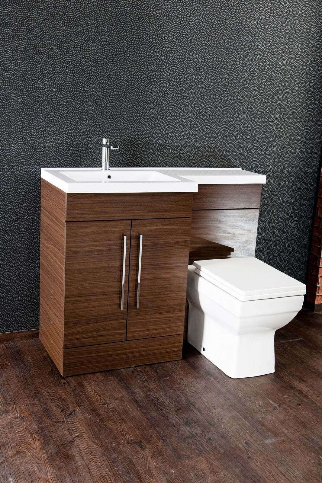 Cassellie Maze L-Shaped Combination Unit with Mid-Edge Basin - 1090mm Wide - Walnut - Left Handed