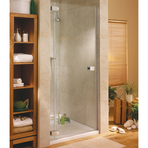 Lakes Italia Pesaro Hinged Shower Door - 900mm - Chrome - Clear Glass - Left Handed