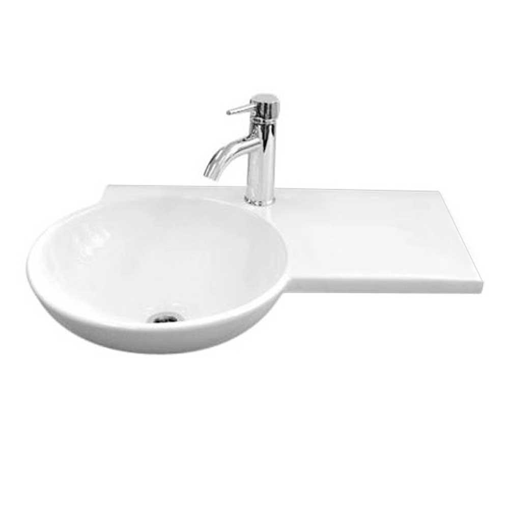 RAK Gina Wall Hung Basin with Right Hand Ledge 675mm Wide - 1 Tap Hole