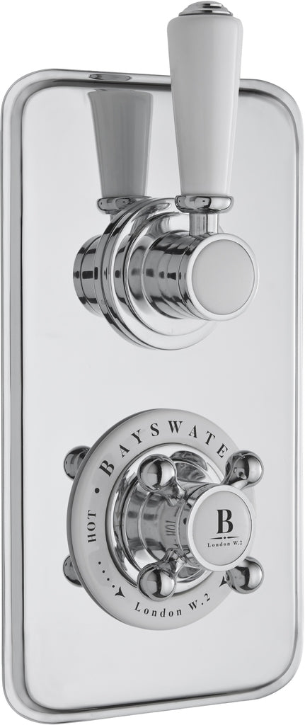 Bayswater Twin Concealed Valve with White Indices