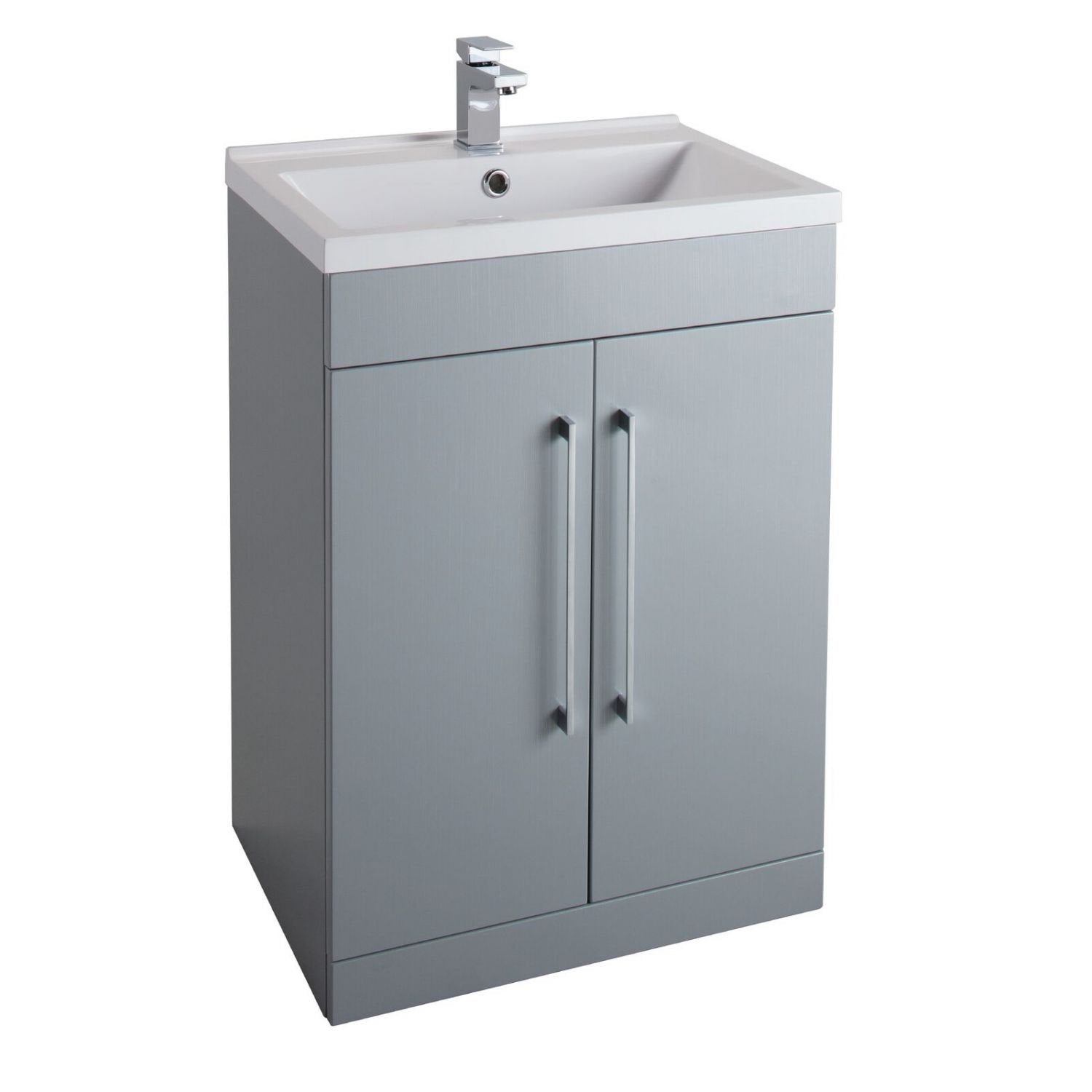 Cassellie Idon 2-Doors Vanity Unit with Mid-Edge Basin - 600mm Wide - Gloss Grey
