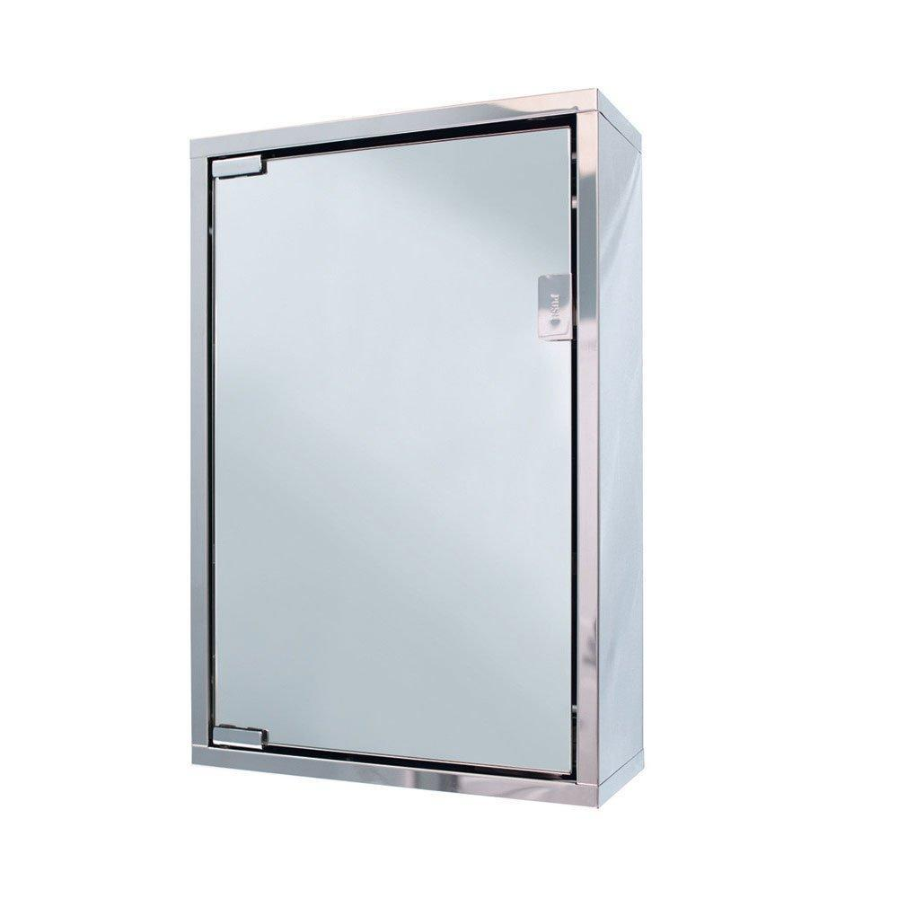 Cassellie Single Door Wall Hung Mirror Cabinet - 300mm Wide - Polished Stainless Steel