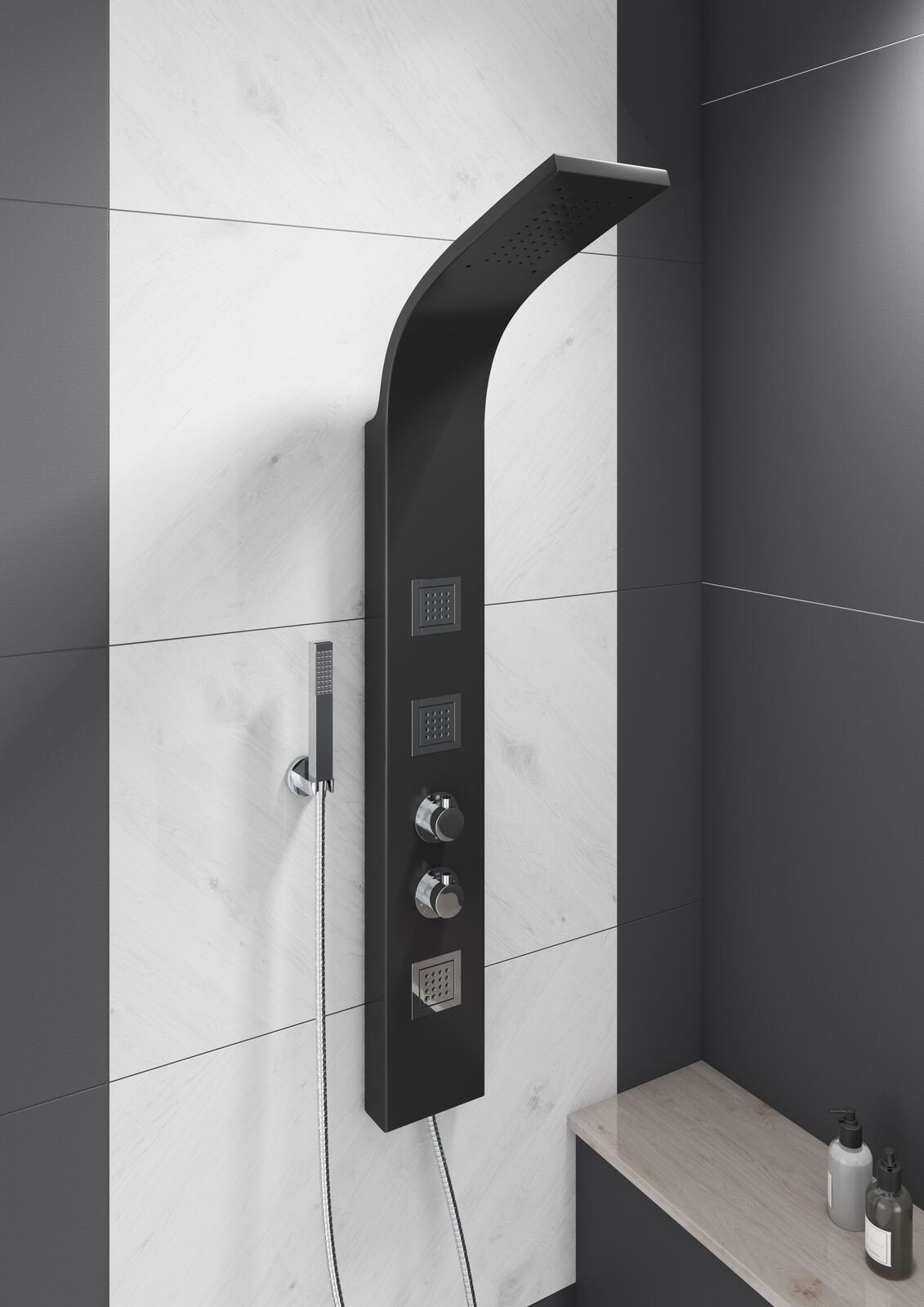 Cassellie Luna Thermostatic Shower Panel - Black