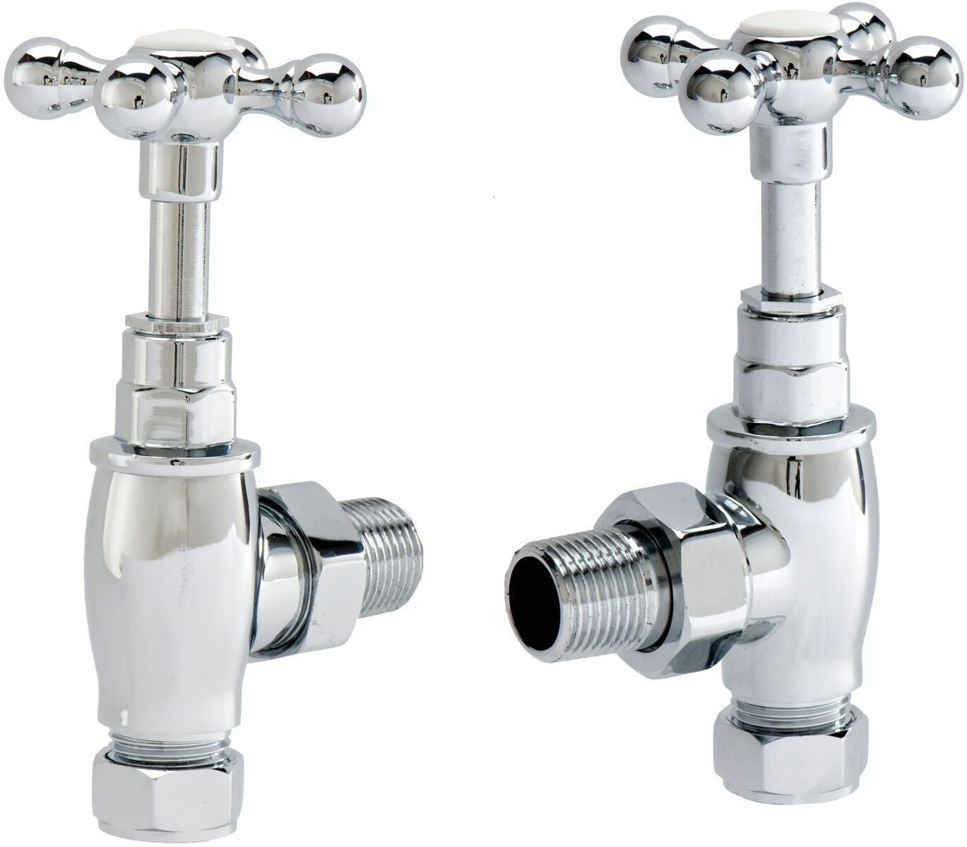 Cassellie Angled Cross Head Radiator Valves - Pair - Chrome
