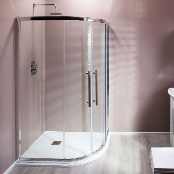 Cassellie Ocho Offset Quadrant Shower Enclosure - 900mm x 760mm - 8mm Glass