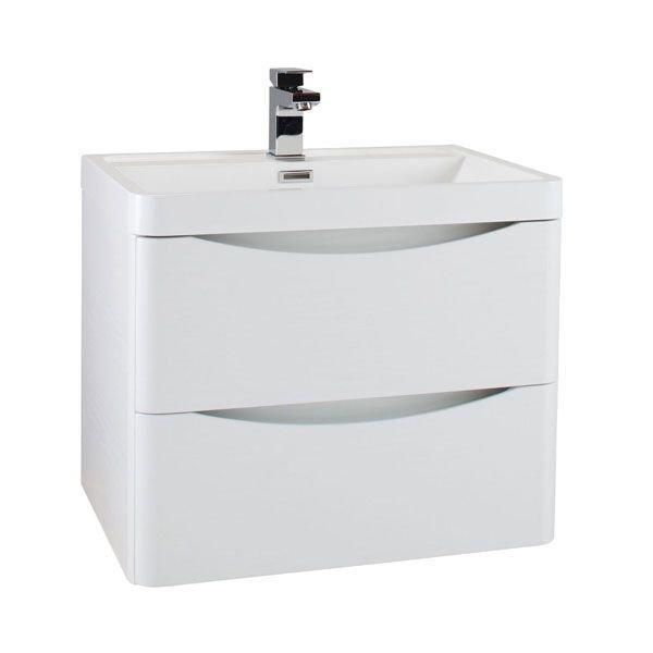 Cassellie Bali White Ash 600mm Wall Mounted Cabinet with Soft Close Drawers & Basin