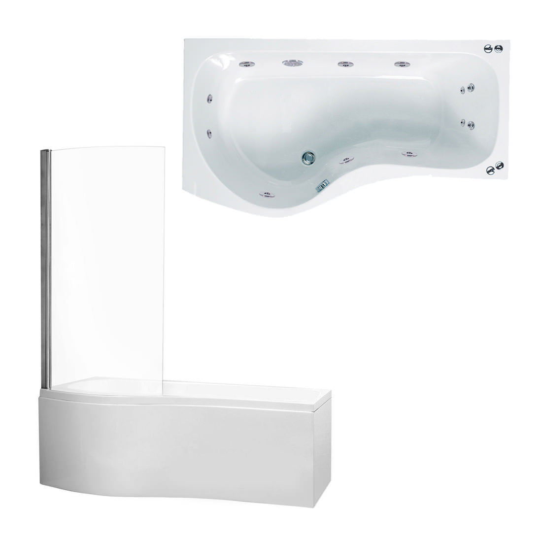 Phoenix Capri - System 1 Left Hand Whirlpool Bath With Panel And Screen - BH025S1