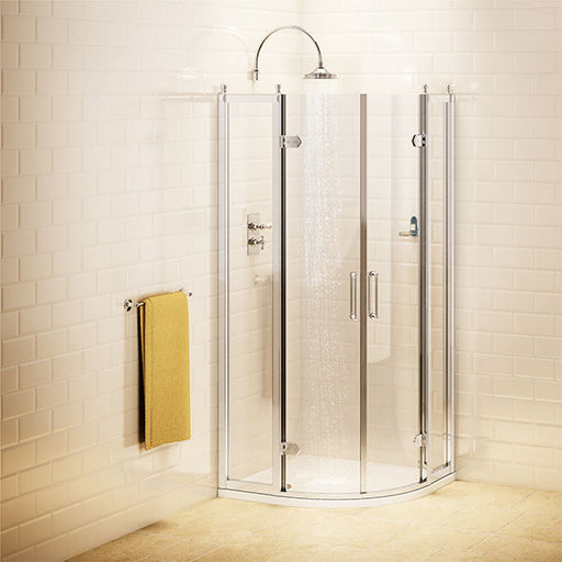 CLEARANCE Burlington Traditional Quadrant Shower Door, 800mm x 800mm, 8mm Glass