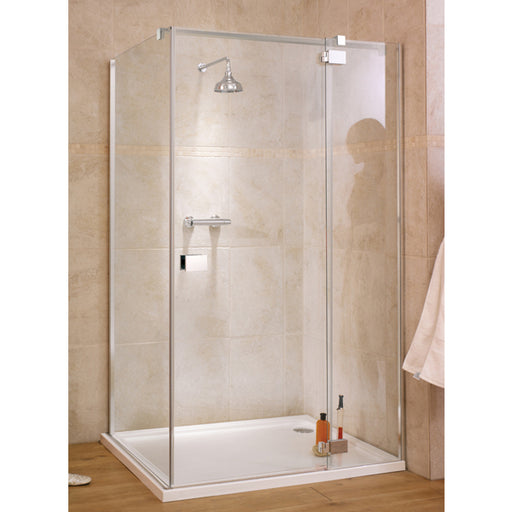 Lakes Italia Verona Hinged Shower Door with Inline Panel - 1400mm - Chrome - Clear Glass - Right Handed