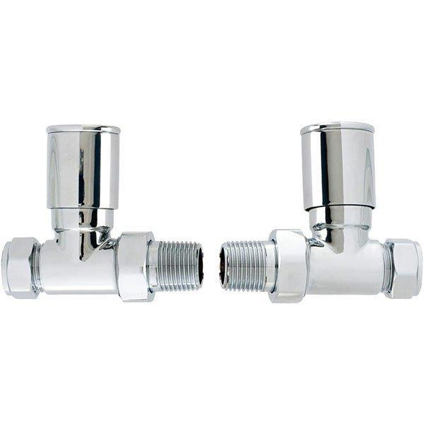 Cassellie Straight Round Head Radiator Valves - Pair - Chrome