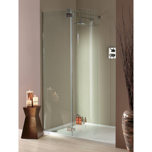 Lakes Italia Torino Hinged Shower Door - 1200mm x 750mm - Silver - Clear Glass - Right Handed