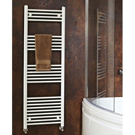 CLEARANCE Phoenix Flavia Electric Straight White Towel Rail 800mm High x 300mm Wide
