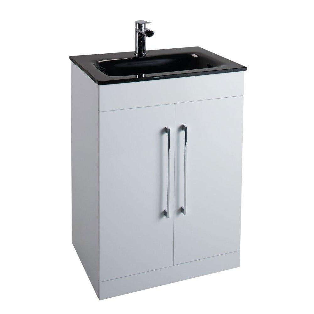 Cassellie Idon 2-Doors Free Standing Gloss White Vanity Unit with Black Glass Basin - 600mm Wide 1 Tap Hole