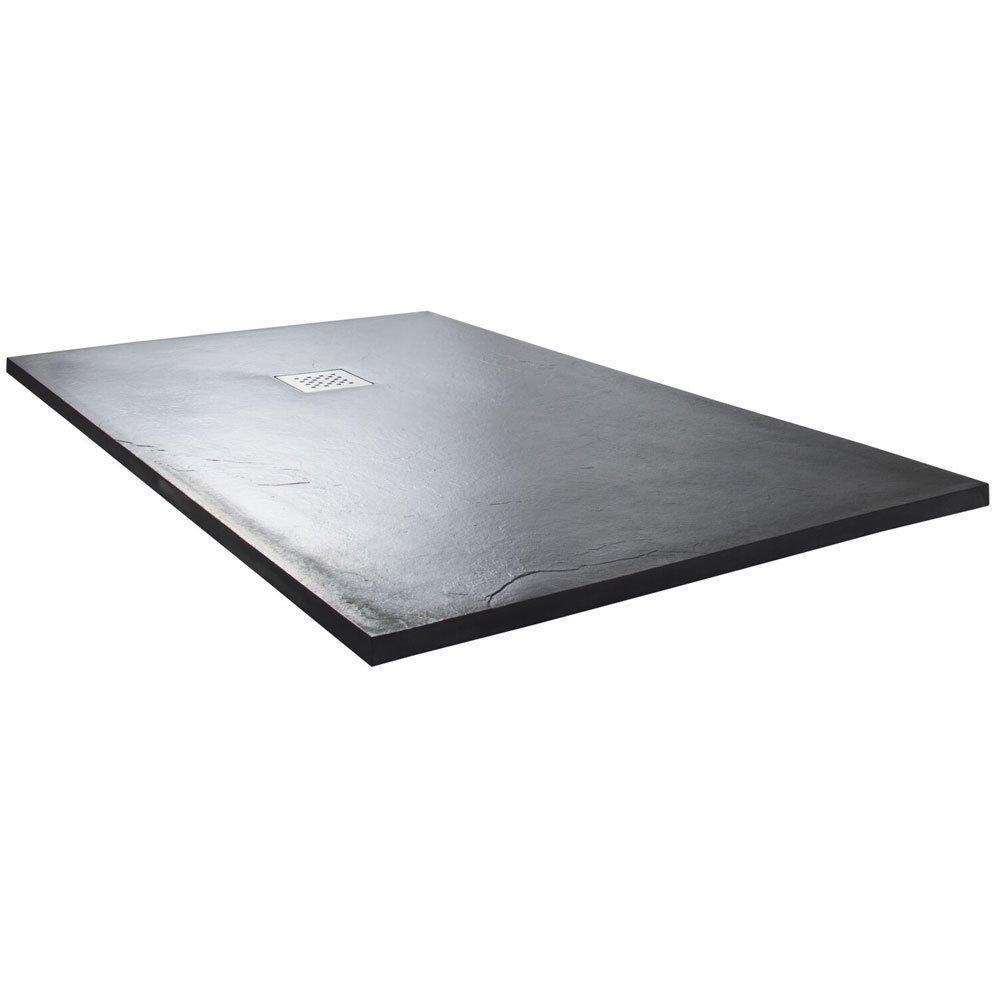 Cassellie Rectangular Slate Shower Tray with Waste 1200mm x 900mm - Anthracite