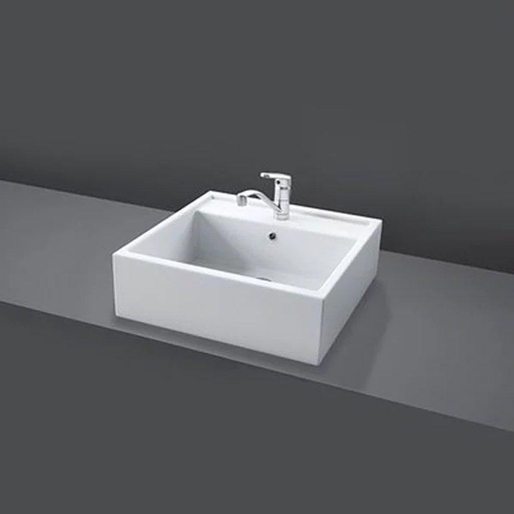 RAK Nova 460mm Sit on Basin - 1 tap hole - White
