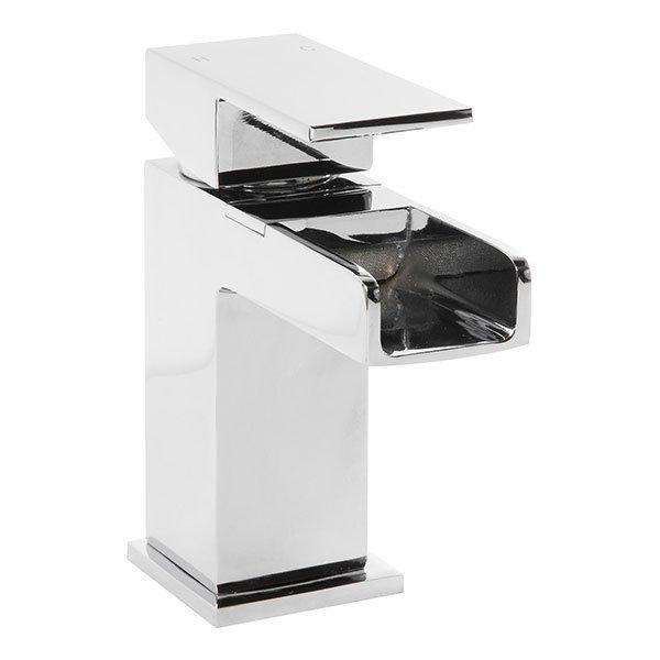 Cassellie Dunk Waterfall Mono Basin Mixer Tap Deck Mounted with Click Clack Waste - Chrome