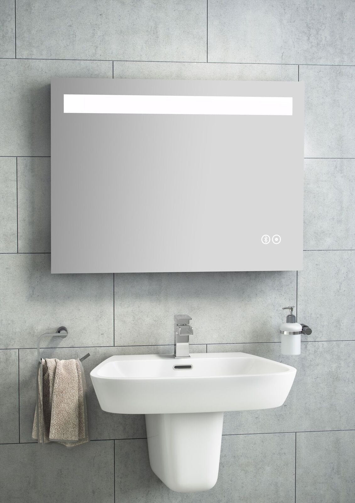 Cassellie LED Mirror with Touch Sensor, Demister & Bluetooth - 1200 ...