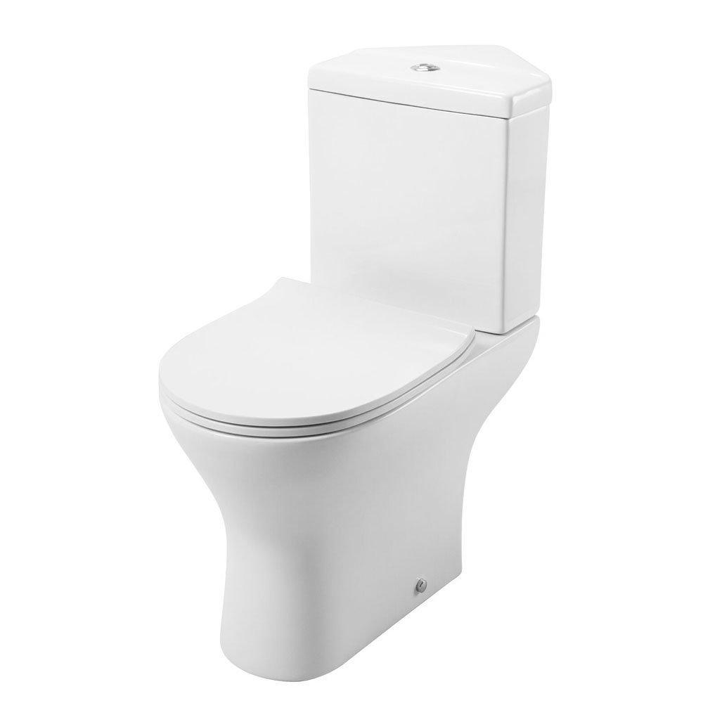 Cassellie Spek Corner Close Coupled Toilet with Push Button Cistern - Quick Release Slimline Seat