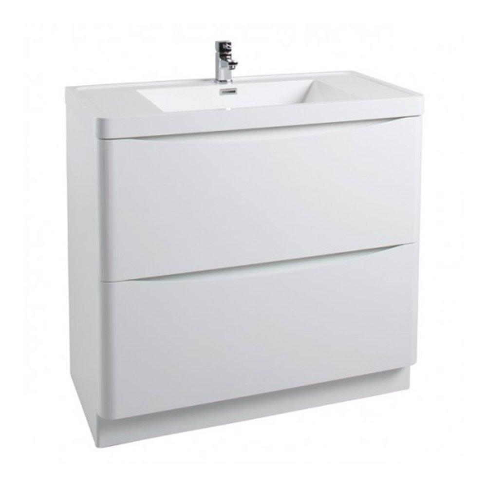Cassellie Bali 2-Drawers Vanity Unit with Basin - 900mm Wide - Gloss White