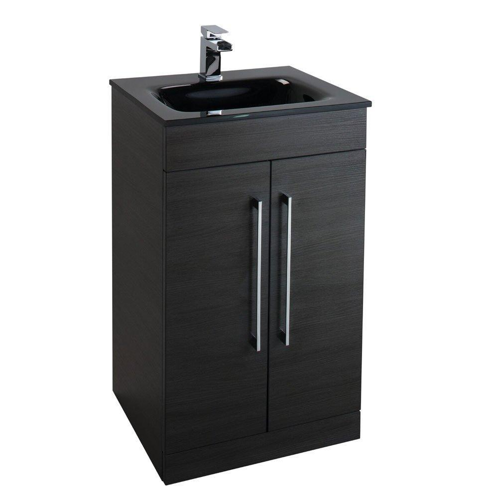 Cassellie Idon 2-Doors Free Standing Black Vanity Unit with Black Glass Basin - 500mm Wide 1 Tap Hole