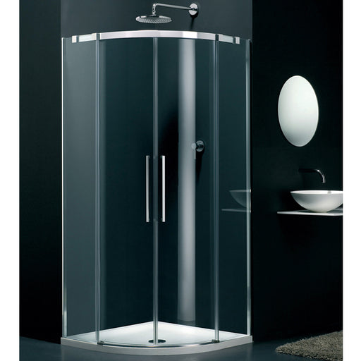 Lakes Italia Carini Offset Quadrant Shower Enclosure - 900mm x 800mm - Chrome - Clear Glass - Left Handed