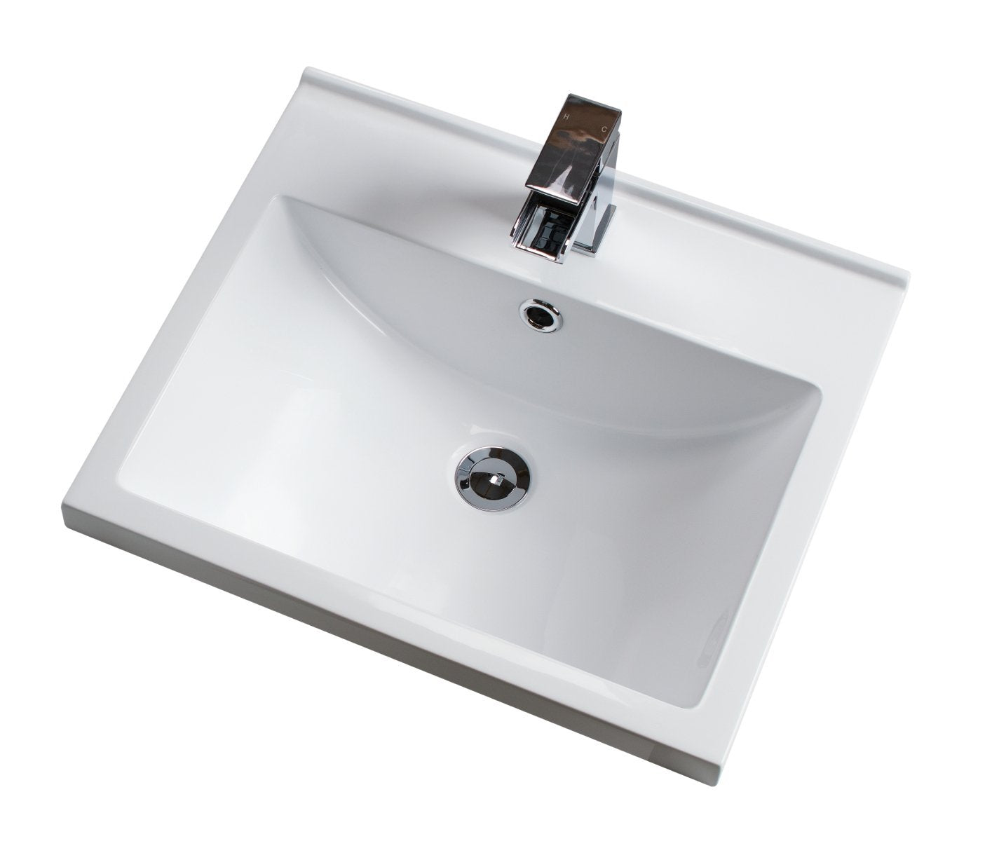 Cassellie Idon Polymarble Mid-Edge Vanity Unit Basin - 506mm Wide - 1 Tap Hole - White