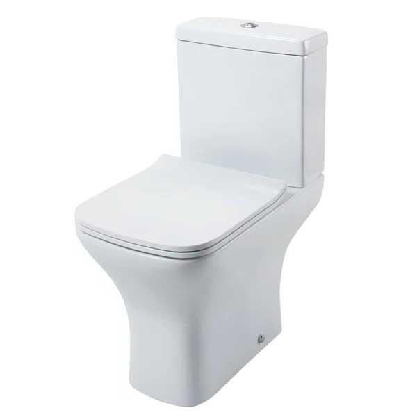 Cassellie Fair Close Coupled Toilet with Push Button Cistern - Quick Release Slimline Seat
