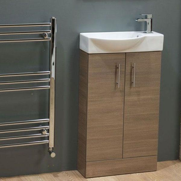 Cassellie Mini 2-Doors Vanity Unit with Basin - 500mm Wide - Medium Oak