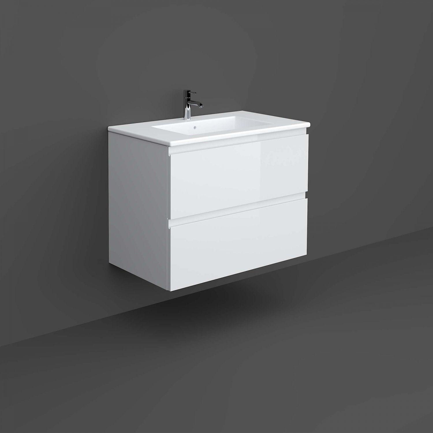 RAK Joy Wall Hung Vanity Unit with Basin 800mm Wide - Pure White