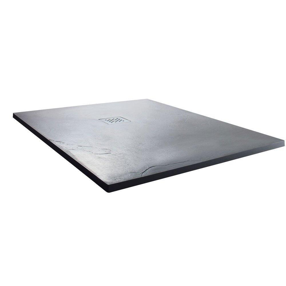 Cassellie Square Slate Shower Tray with Waste 900mm x 900mm - Anthracite