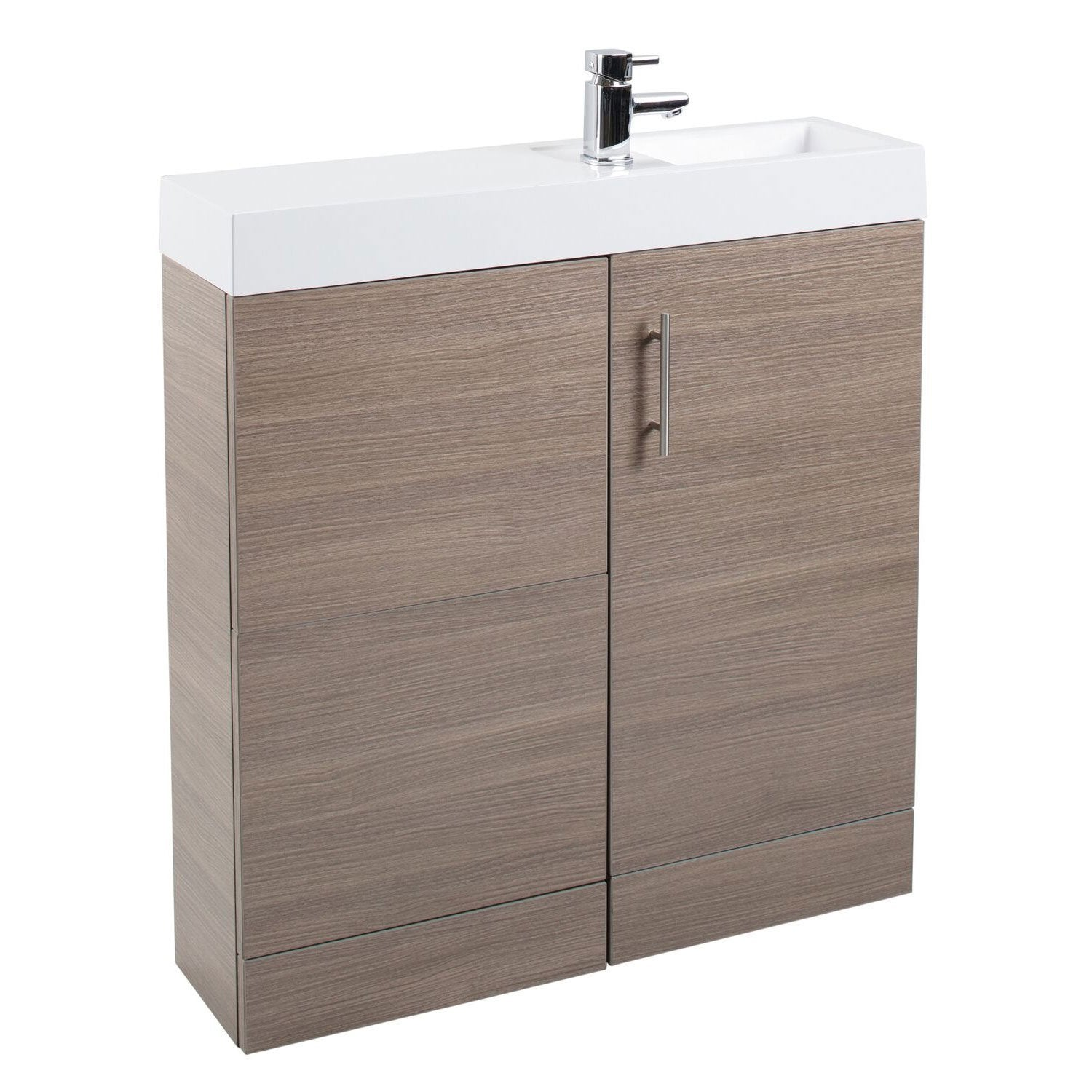 Cassellie Cube Plus Combination Unit with Basin - 800mm Wide - Medium Oak