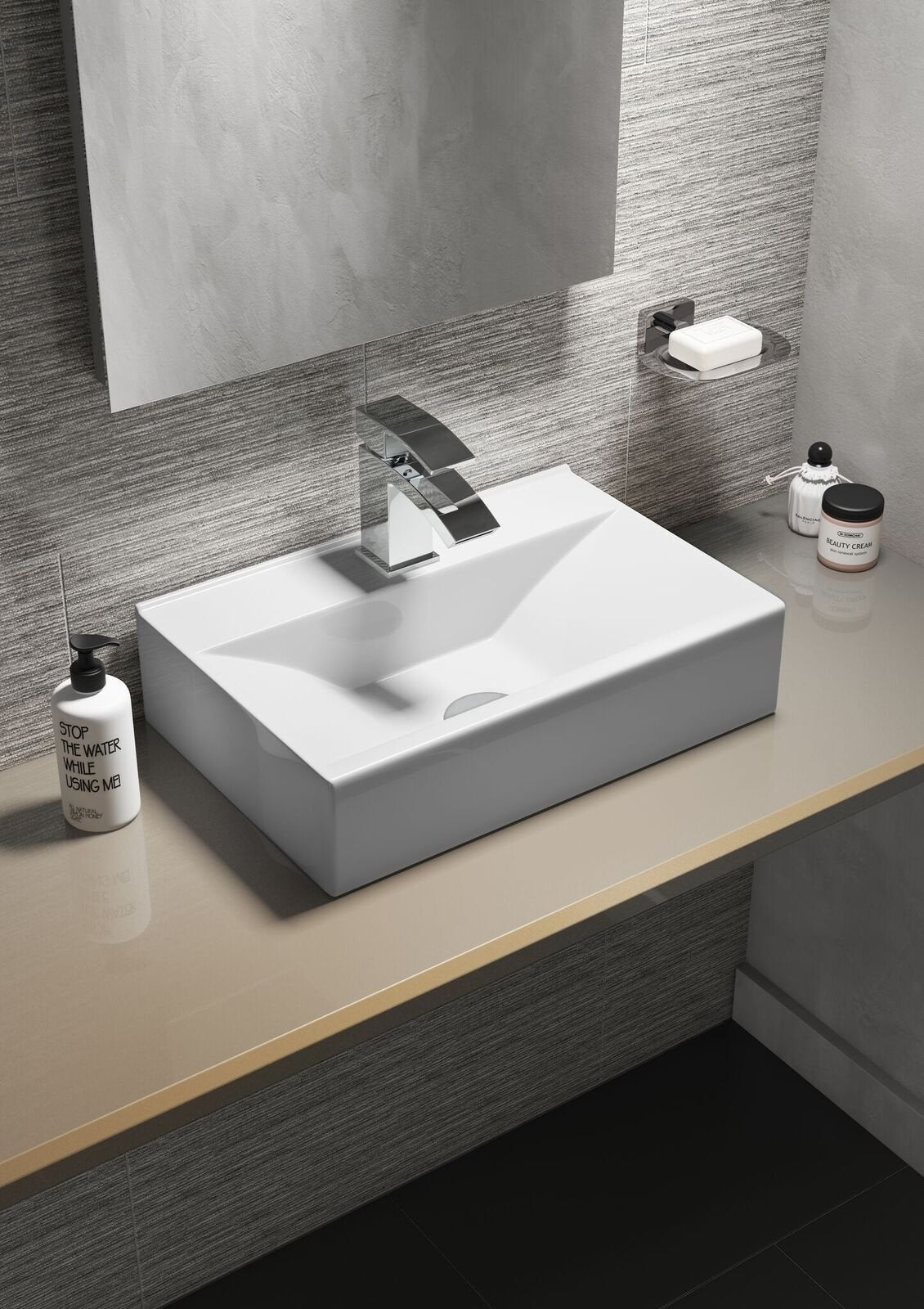 Cassellie Vessel Rectangular Counter Top Basin - 450mm Wide - 1 Tap Hole
