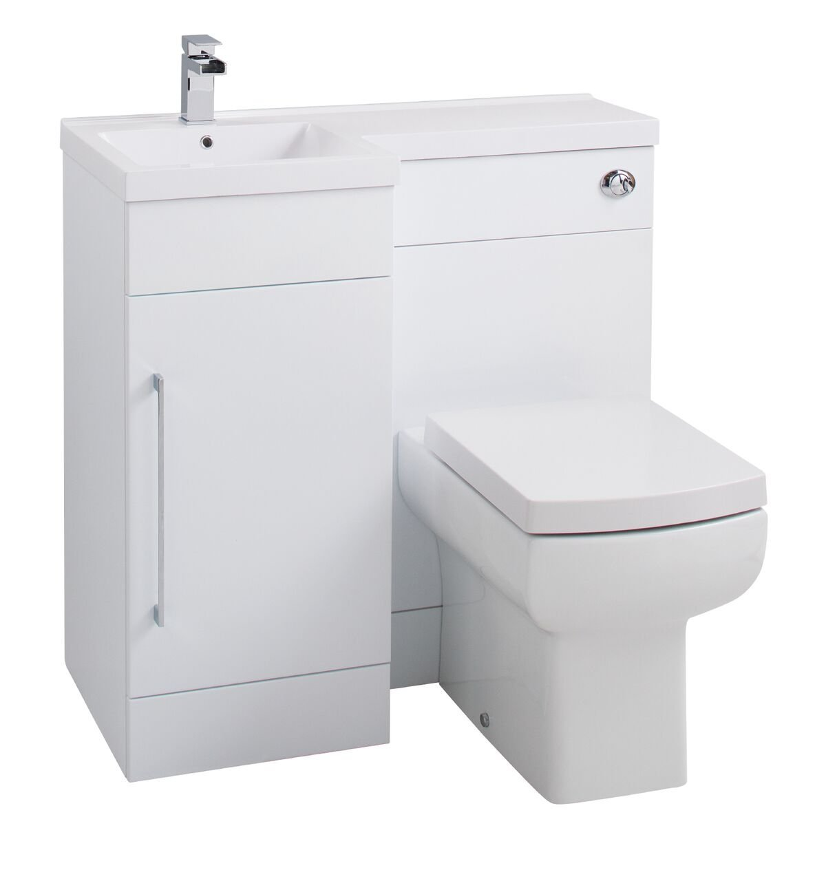 Cassellie Maze Compact L-Shaped Combination Unit with Mid-Edge Polymarble Basin - 900mm Wide - Left Handed