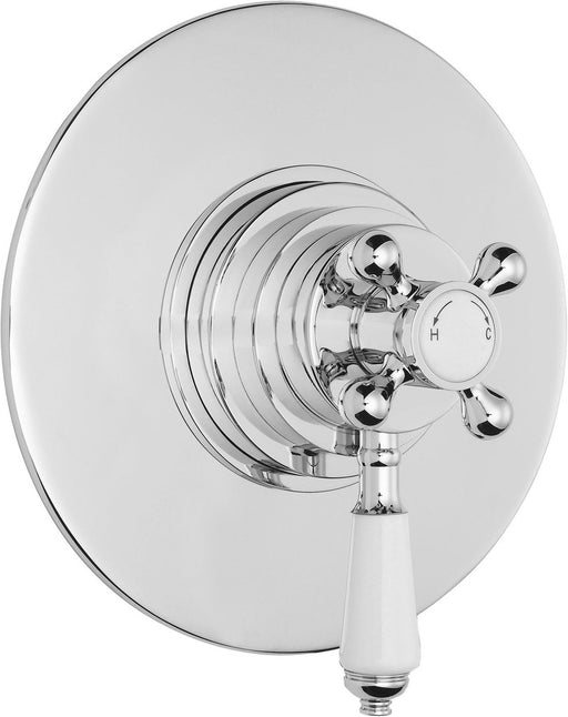 Bayswater Round Dual Thermostatic Concealed Valve, White Indices