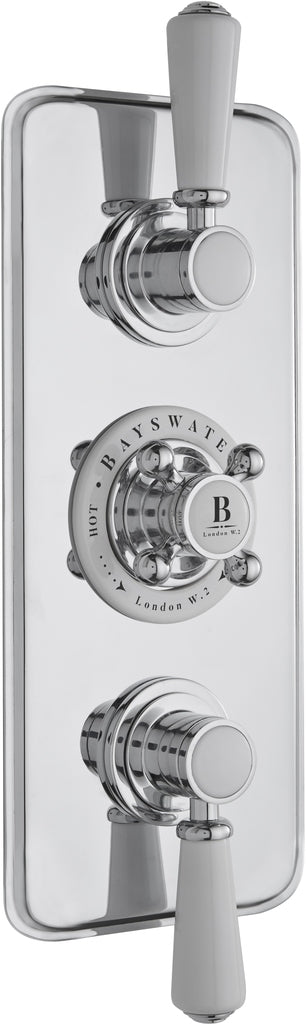 Bayswater Triple Concealed Valve with Diverter & White Indices