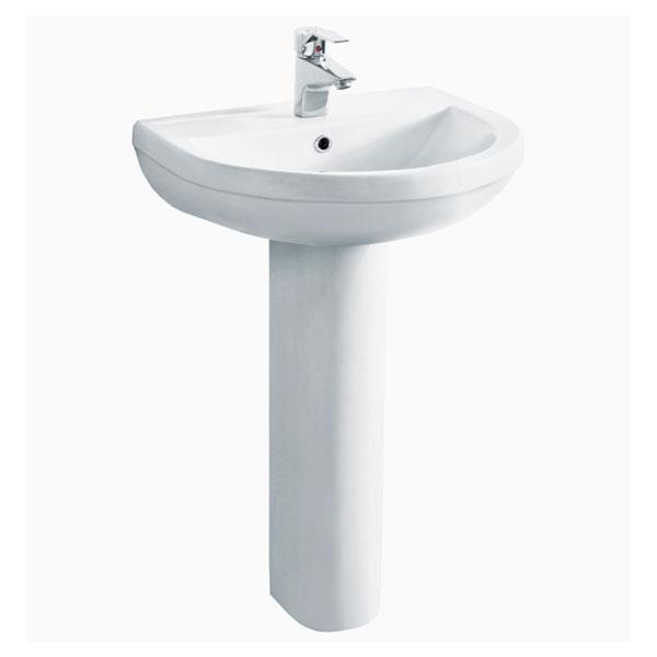 Cassellie Ivo Basin with Full Pedestal - 555mm Wide - 1 Tap Hole