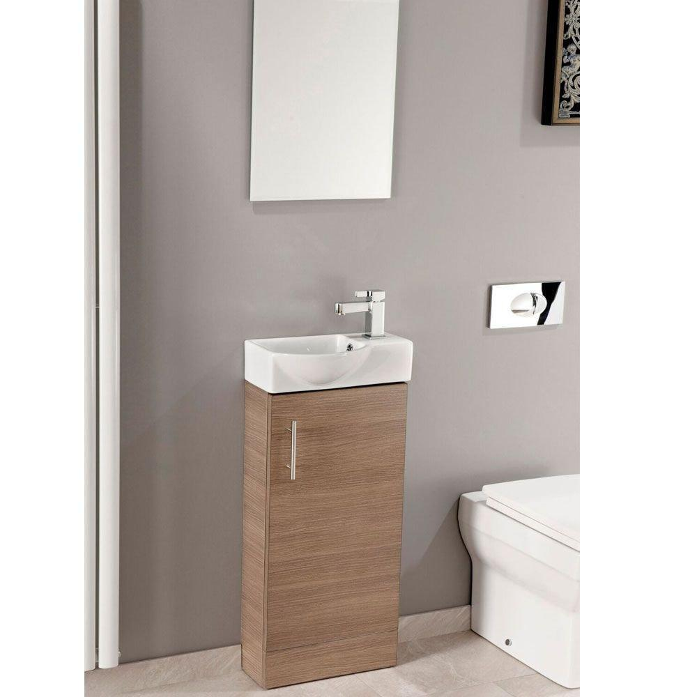 Cassellie Mini 1-Door Vanity Unit with Basin - 400mm Wide - Medium Oak