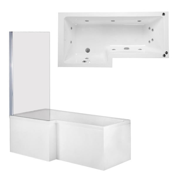 Phoenix Qube - Left Hand Whirlpool Shower Bath With Panel And Screen - BH023S1